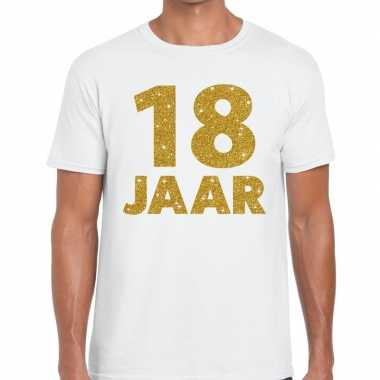 Goedkope 18e verjaardag cadeau t shirt wit met goud voor heren