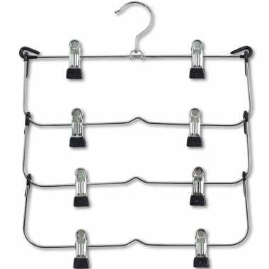 Goedkope 1x luxe broekhangers/rokhangers klerenhangers voor 4 broeken/rokken 36 cm