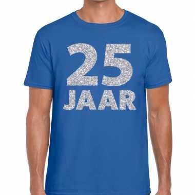 Goedkope 25e verjaardag cadeau shirt blauw met zilver voor heren