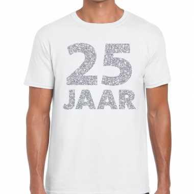 Goedkope 25e verjaardag cadeau shirt wit met zilver voor heren