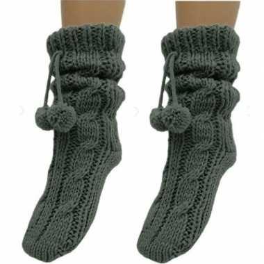 Goedkope 2x dames sokken voor in huis donkergrijs