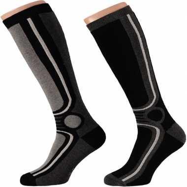 Goedkope 2x zwarte ski sokken voor heren