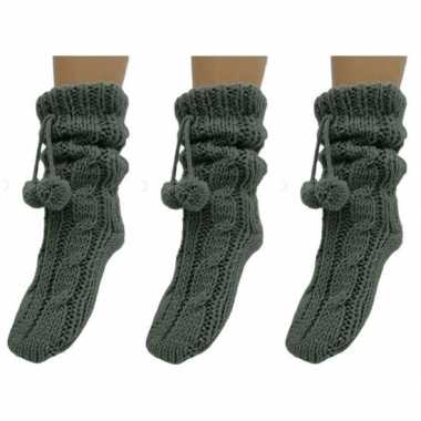 Goedkope 3 paar dames sokken voor in huis grijs