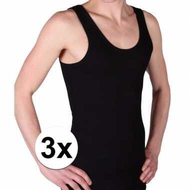 Goedkope 3 pack zwarte beeren heren hemd ondergoed maat 3xl