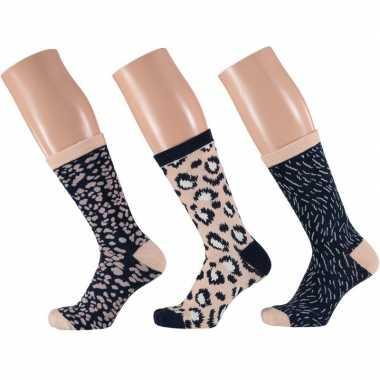 Goedkope 3 pak dames sokken beige/navy maat 35 42