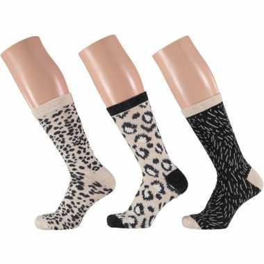 Goedkope 3 pak dames sokken beige/zwart maat 35 42
