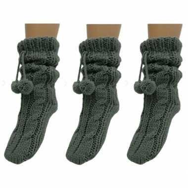 Goedkope 3x dames sokken voor in huis antracietgrijs
