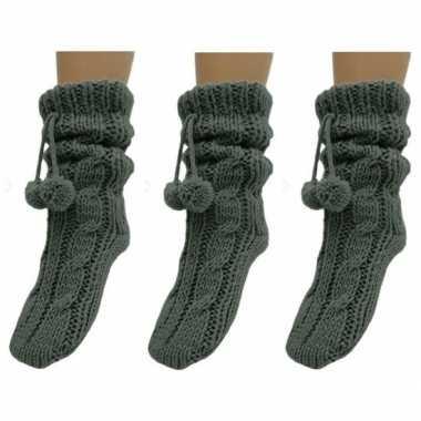 Goedkope 3x dames sokken voor in huis donkergrijs