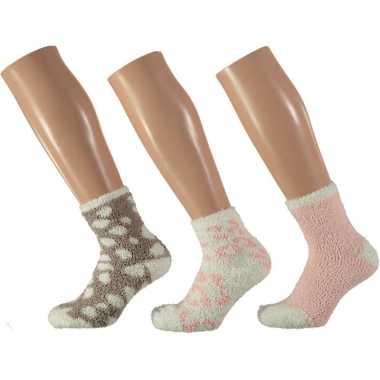 Goedkope 3x roze/witte luipaard huissokken/slofsokken voor meisjes