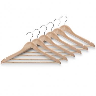 Goedkope 5x bruine kleren hangers met broekstang 44 cm