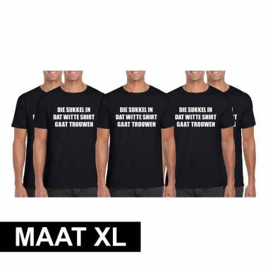 Goedkope 5x vrijgezellen t shirt vrienden/ die sukkel gaat trouwen zw