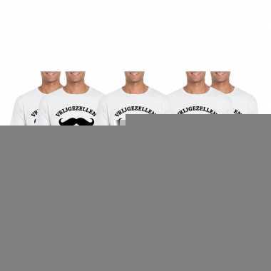 Goedkope 5x vrijgezellenfeest shirt wit voor heren maat l