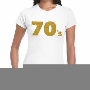 Goedkope 70's goud fun t shirt wit voor dames