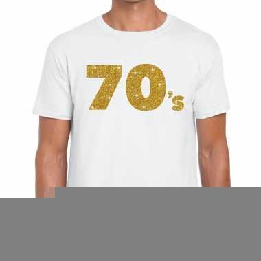 Goedkope 70's goud letters fun t shirt wit voor heren