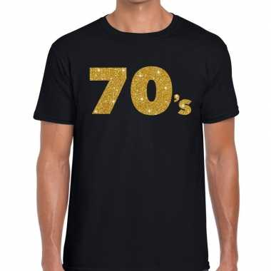 Goedkope 70's gouden letters fun t shirt zwart voor heren