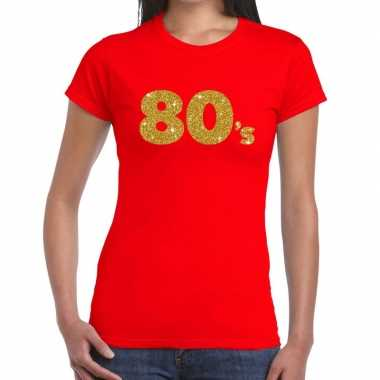 Goedkope 80's goud fun t shirt rood voor dames