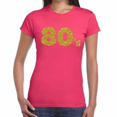 Goedkope 80's goud fun t shirt roze voor dames