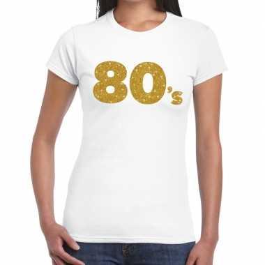 Goedkope 80's goud fun t shirt wit voor dames