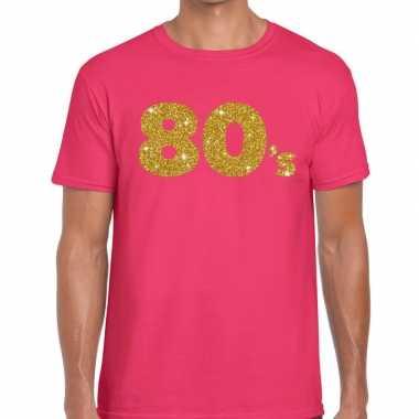 Goedkope 80's goud glitter tekst fun t shirt roze voor heren