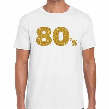 Goedkope 80's goud letters fun t shirt wit voor heren