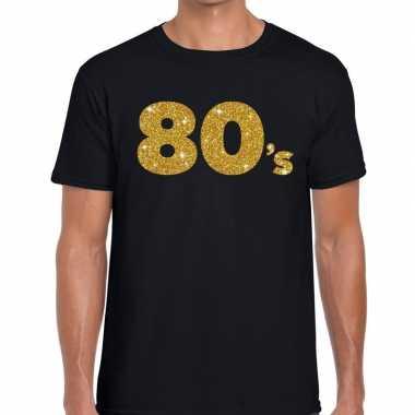 Goedkope 80's gouden letters fun t shirt zwart voor heren