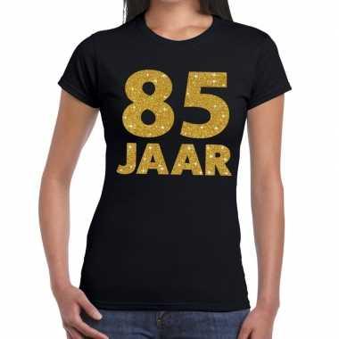 Goedkope 85e verjaardag cadeau t shirt zwart met goud voor dames