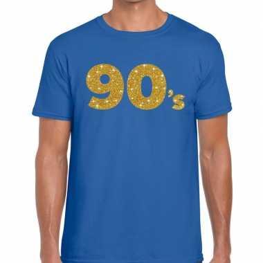 Goedkope 90's fun tekst t shirt blauw voor heren
