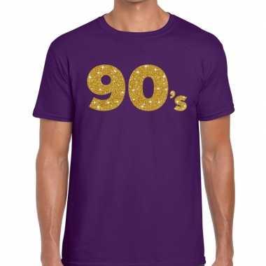 Goedkope 90's fun tekst t shirt paars voor heren