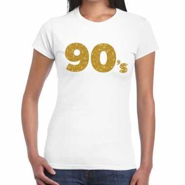 Goedkope 90's goud fun t shirt wit voor dames