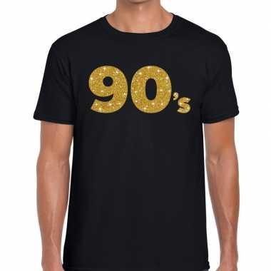 Goedkope 90's gouden letters fun t shirt zwart voor heren