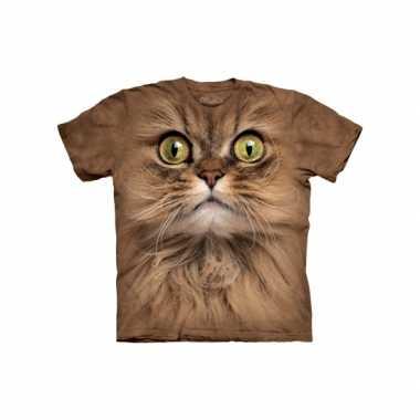 Goedkope all over print t shirt bruine kat