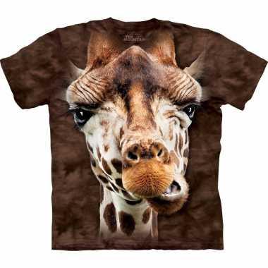 Goedkope all over print t shirt giraf bruin