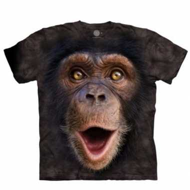 Goedkope all over print t shirt met baby chimpansee aap