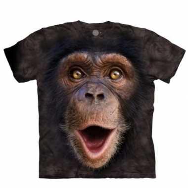 Goedkope all over print t shirt met baby chimpansee aap