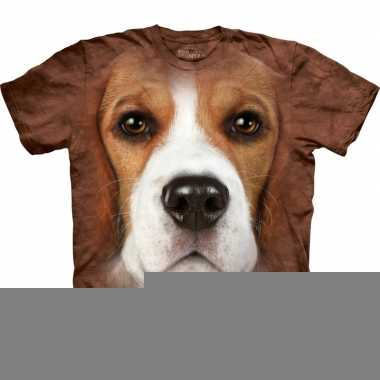 Goedkope all over print t shirt met beagle hond