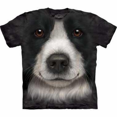 Goedkope all over print t shirt met border collie hond