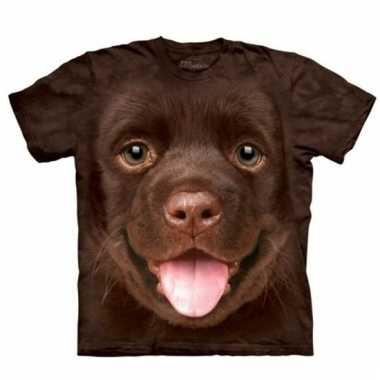 Goedkope all over print t shirt met bruine labrador pup hond