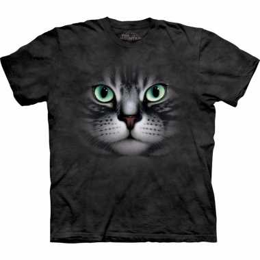 Goedkope all over print t shirt met cyperse kat