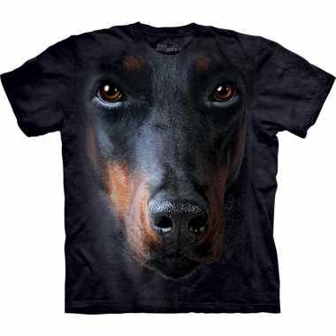 Goedkope all over print t shirt met doberman