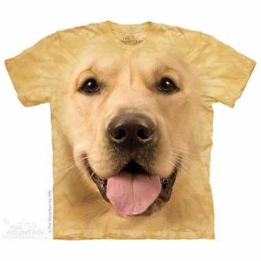 Goedkope all over print t shirt met golden retriever hond