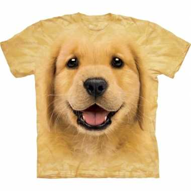 Goedkope all over print t shirt met golden retriever pup hond