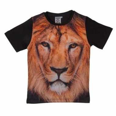 Goedkope all over print t shirt met leeuw voor kinderen