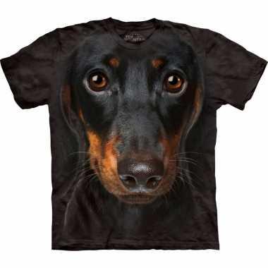 Goedkope all over print t shirt met pincher hond