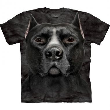Goedkope all over print t shirt met pitbull hond