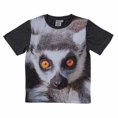 Goedkope all over print t shirt met ringstaart maki voor kinderen