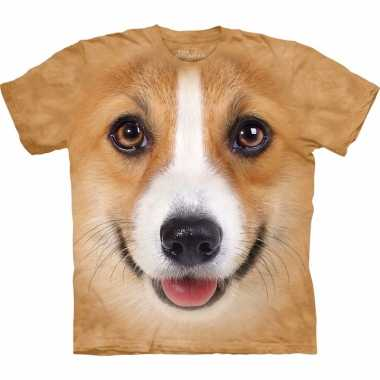 Goedkope all over print t shirt met welsh corgi pembroke hond