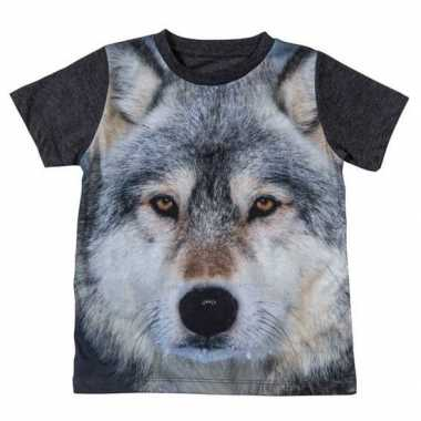 Goedkope all over print t shirt met wolf voor kinderen