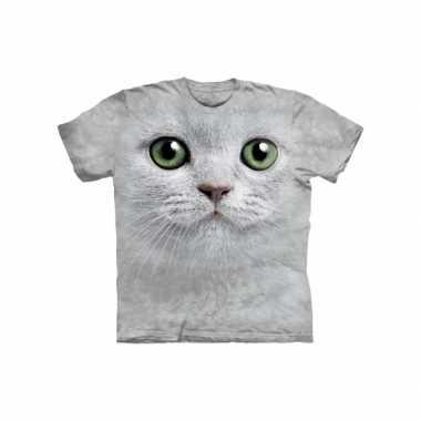 Goedkope all over print t shirt witte kat