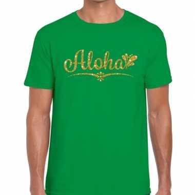 Goedkope aloha fun hawaii t shirt groen voor heren