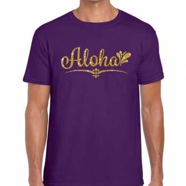 Goedkope aloha fun hawaii t shirt paars voor heren